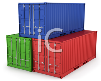 Royalty Free Clipart Image of Three Freight Containers
