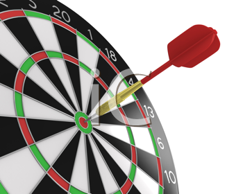Royalty Free Clipart Image of a Dart in a Dartboard