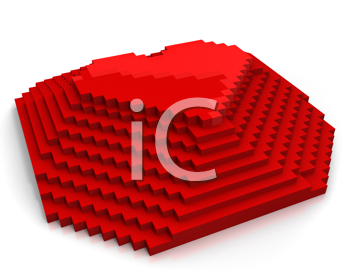 Royalty Free Clipart Image of a Pixel Heart