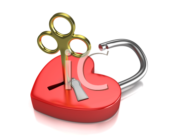 Royalty Free Clipart Image of a Heart and Lock