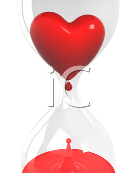 Royalty Free Photo of an Hourglass With a Heart and Blood