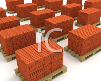 Royalty Free Clipart Image of Bricks on Pallets