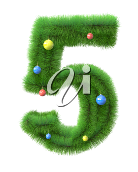 5  number made of christmas tree branches isolated on white background