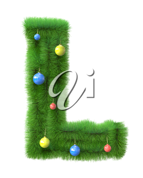 L letter made of christmas tree branches isolated on white background