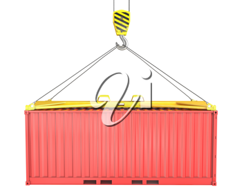 Freight container hoisted on container spreader, isolated on white background