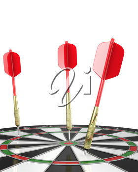 Three darts stuck in a board, top view, isolated on white background