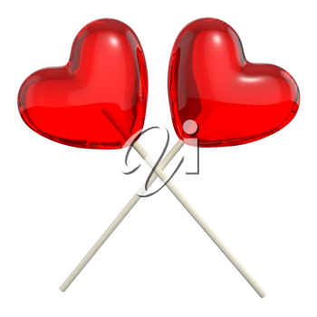 Two crossed heart shaped lollipops, isolated on white background
