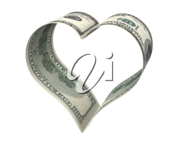 Heart made of two dollar papers, isolated on white background