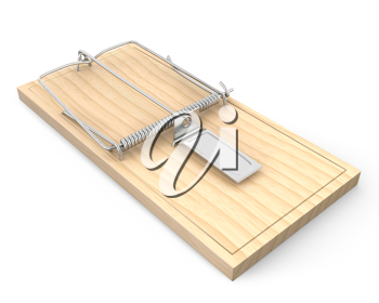 Wooden mouse trap, isolated on white background