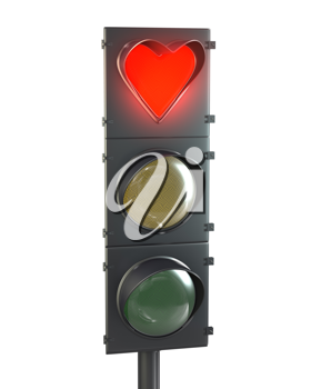 Traffic light with heart shaped red lamp isolated on white background