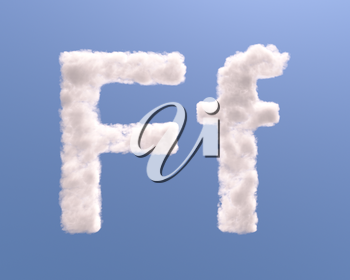 Letter F cloud shape, isolated on white background