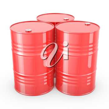 Three red barrels isolated on white background