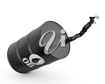 Falling barrel of oil, isolated on white background