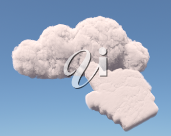 Cloud with hand cursor, cloud computing concept