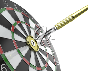 Dartboard with keyhole in center with key on arrow, isolated on white background