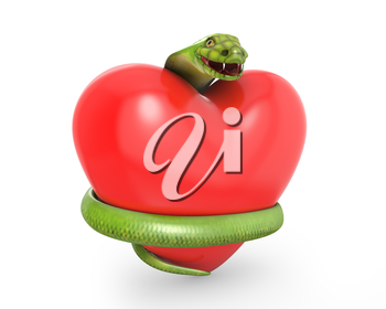 Green cobra on a red heart, isolated on white background