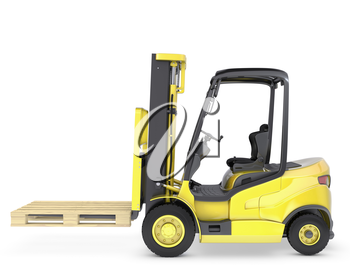 Yellow fork lift truck with pallet, isolated on white background