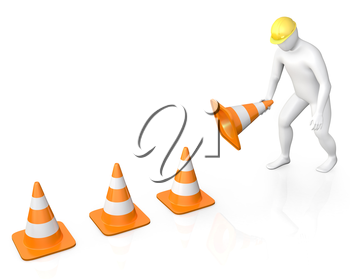 Abstract white guy places road cones, isolated on white background