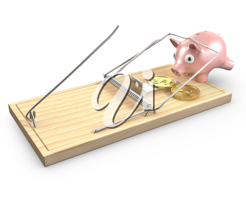 Piggy bank caugt in a mouse trap, isolated on white background