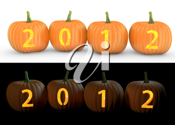 2012 text carved on pumpkin jack lantern isolated on and white background