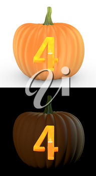 Number 4 carved on pumpkin jack lantern isolated on and white background