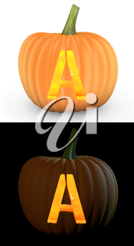 A letter carved on pumpkin jack lantern isolated on and white background