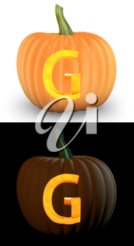 G letter carved on pumpkin jack lantern isolated on and white background