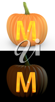M letter carved on pumpkin jack lantern isolated on and white background