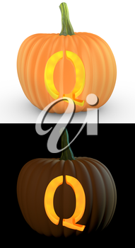 Q letter carved on pumpkin jack lantern isolated on and white background