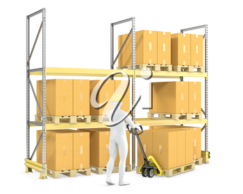 Worker moves boxes with pallet truck, isolated on white background