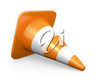 Traffic cone, isolated on white background