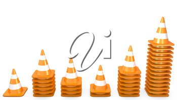 Graph of growth made of traffic cones, isolated on white background