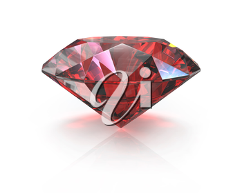 Round cut ruby, isolated on white background