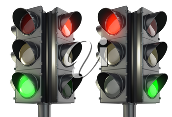 Four sided traffic light red and green variations, isolated on white background