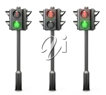 Set of pedestrian traffic lights, isolated on white background