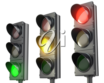Three traffic lights, red green and yellow, isolated on white background