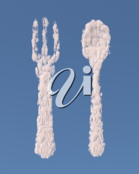 Fork and spoon made of clouds on blue background