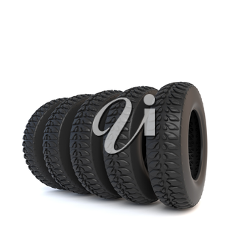 Tire isolated on white background. 3D illustration.