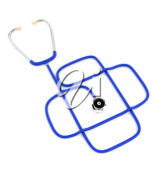 Blue medical stethoscope isolated on a white background. The design of health services. 3d illustration.