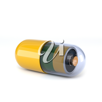 Yellow capsule with electric battery inside, isolated on white background. Concept tablets vitality and vigor. 3d illustration.