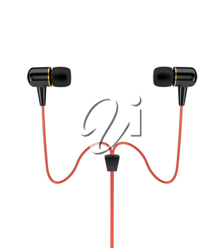 Headphones with a red cable isolated on white background. 3d illustration.