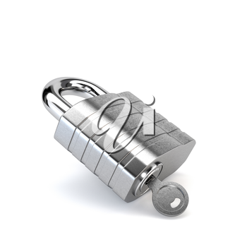 Chrome padlock with the key in the keyhole isolated on white background. 3d illustration.