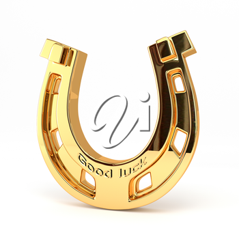 Gold horseshoe isolated on white background. Good luck! 3d illustration.