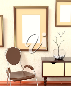 Mocap home retro interiors. Room with furniture, empty picture plastered on the wall, dresser, chair and the tree in a vase. 3d rendering.