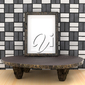 Mocap ethnic interior. Round wooden table and frame. Black and white tiles on the walls. 3d rendering.