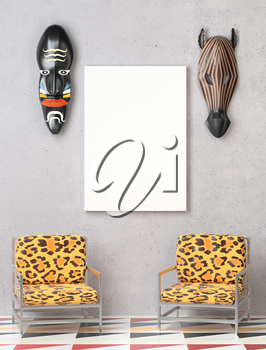 Mock up interior. Two chairs with colorful leopard upholstery. Wooden African mask on the wall. Bright floor. 3D-rendering.