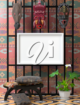 Mock up ethnic interior. Wooden chair with soft colorful pillow. Wooden African mask on the wall. Green calla on bright floor. 3D-rendering.
