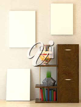 Mock up office interior. Wooden shelves and folder with documents. Ethno vase. Green grass in a vase. 3D-rendering