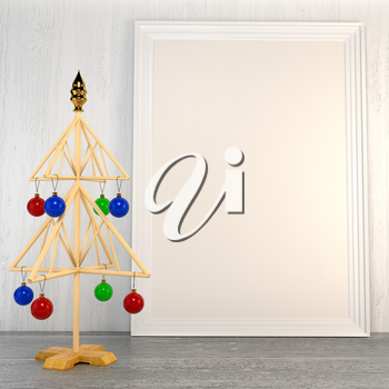 Christmas mock up with a symbolic tree with Christmas colored balls and empty blank canvas in a frame on the background of a wooden painted wall. 3d illustration