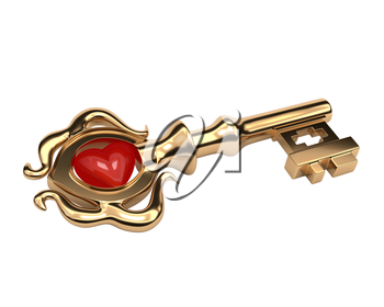 Golden Key old style with a stone in the shape of a heart isolated on white background. Key to the heart. Vector illustration.